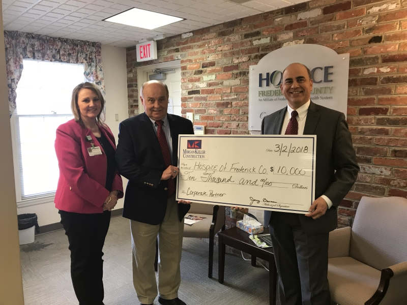 Morgan Keller Construction presented Hospice of Frederick County with a $10,000 pledge.